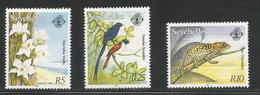 1994 Seychelles RARE Definitive Reprints Birds Chameleon 5R,10R & 25R  MNH - Seychelles (1976-...)