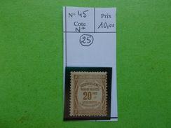 FRANCE.TIMBRE TAXE N°45.N*.CATALOGUE YVERT. - 1859-1955 Nuevos
