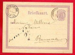 Pays-Bas. Entier P2  (1872).  2½ C Violet   Hertogenbosch-Roermond Décembre 1877 - Postal Stationery