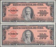 1959-BK-50 CUBA. BANCO NACIONAL 1959 100$ AGUILERA UNC.  2 CONSECUTIVOS - Cuba