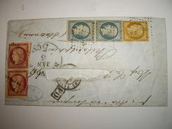 FRANCE Cover 1851-1852  CERES  -NAPOLEON 3 Couleurs  Pour Les USA + 5 Cts  NEW-YORK 5 Janvier Pour  PHILADELPHIE - 1849-1850 Cérès
