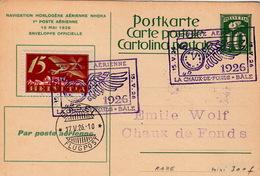 CARTE POSTALE SUISSE 15 MAI 1926. NAVIGATION HORLOGERE AERIENNE NHORA. 1è POSTE AERIENNE. CHAUX DE FONDS BÂLE - Autres Documents