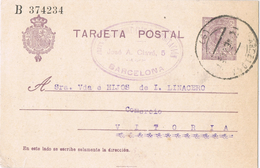 22070. Entero Postal BARCELONA 1921, 15 Cts Medallon , VARIEDAD, Edifil Num 50ca - 1850-1931