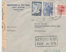Grèce Lettre Censurée Pour L'Allemagne 1942 - Brieven En Documenten