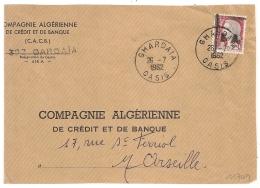 EA Sur Decaris, GHARDAIA  OASIS Algérie Sur DEVANT D'enveloppe. 26/7/1962 - Algérie (1962-...)