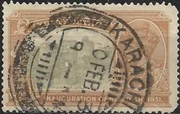 INDIA 1931 Inauguration Of New Delhi - Purana Qila - 1/4a. - Green And Orange FU KARACHI CANCELLATION - India (...-1947)