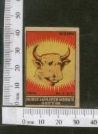 India 1950's Bison Brand Match Box Label Wildlife Animal # MBL131 - Matchbox Labels