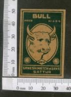 India 1950's Bull Brand Match Box Label Wildlife Animal # MBL038 - Matchbox Labels