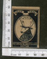India 1950's Deer Head Brand Match Box Label Wildlife Animal # MBL253 - Matchbox Labels