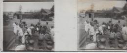 Plaque Verre Stéréoscopique 4,5x 10,5  + Tirage S/papier Brillant 10x25  TUNISIE . GABES Femmes à La Fontaine - Diapositivas De Vidrio