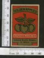 India 1950's Golden Apples Fruit Brand Match Box Label # MBL221 - Matchbox Labels
