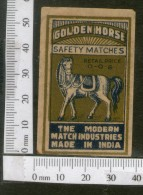 India 1950's Golden Horse Brand Match Box Label Wildlife Animal # MBL054 - Matchbox Labels