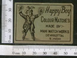 India 1950's Happy Boy Brand Match Box Label # MBL251 - Matchbox Labels