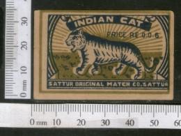 India 1950's Indian Cat Tiger Brand Match Box Label Wildlife Animal # MBL230 - Matchbox Labels