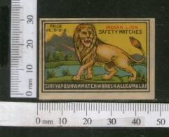 India 1950's Indian Lion Brand Match Box Label Wildlife Animal # MBL068 - Matchbox Labels