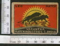 India 1950's Leo Brand Match Box Label Wildlife Animal # MBL187 - Matchbox Labels