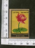 India 1950's Lotus Flower Flora Brand Match Box Label # MBL088 - Matchbox Labels