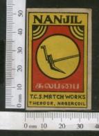 India 1950's NANJIL Plow Brand Match Box Label Agriculture Instrument # MBL219 - Matchbox Labels