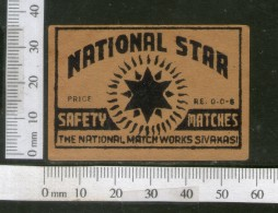 India 1950's National Star Brand Match Box Label # MBL223 - Matchbox Labels