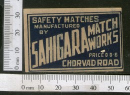 India 1950's Sahigara Brand Match Box Label # MBL164 - Matchbox Labels