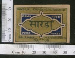 India 1950's SARDA Brand Match Box Label # MBL200 - Matchbox Labels