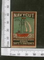 India 1950's Ship Navycut Brand Match Box Label # MBL130 - Matchbox Labels