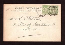 """1900 - Oblitération Daguin Sur Paire Type Sage (n° 102) - Carte """"Hôtel St Petersbourg"""" - Nice Pour Paris - 1849-1876: Klassieke Periode"""
