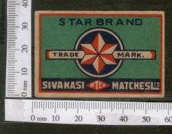 India 1950's Star Brand Match Box Label # MBL057 - Matchbox Labels