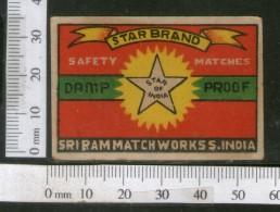India 1950's Star Brand Match Box Label # MBL196 - Matchbox Labels