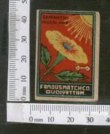 India 1950's Sun Flower Flora Brand Match Box Label # MBL188 - Matchbox Labels