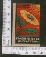 India 1950's Sun Flower Flora Brand Match Box Label # MBL241 - Matchbox Labels