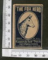 India 1950's The Fox Head Brand Match Box Label Wildlife Animal # MBL255 - Matchbox Labels
