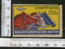 India 1950's Three Horse Campions Brand Match Box Label Wildlife Animal # MBL213 - Matchbox Labels