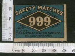 India 1950's Three Nine 999 Brand Match Box Label # MBL107 - Matchbox Labels