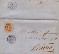 Año 1860 Edifil 52 Sello 4 C De Isabel II  Carta    Matasellos Figueras Gerona - Gebruikt