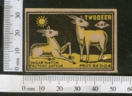 India 1950's Two Deer Brand Match Box Label Wildlife Animal # MBL002 - Matchbox Labels