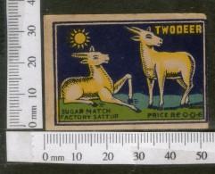 India 1950's Two Deer Brand Match Box Label Wildlife Animal # MBL222 - Matchbox Labels
