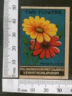 India 1950's Two Flower Flora Brand Match Box Label # MBL210 - Matchbox Labels