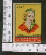 India 1950's  Women Lady Brand Match Box Label # MBL207 - Matchbox Labels