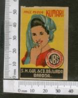 India 1950's  Women Lady Kumari Brand Match Box Label # MBL066 - Matchbox Labels