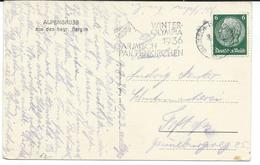 "Olympic Games 1936.Germany.meter Postmark ""WINTER OLYMPIADE / 1936 / GARMISCH PARTENKIRCHEN"".ALPENGRUSS.Partnachklamm - Winter 1936: Garmisch-Partenkirchen"