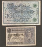 Alemania Imperio 100 Mark 1908 Y 5 Mark 1917 Usados - 1871-1918: Deutsches Kaiserreich