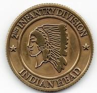 WW2 - Pièce De Collection - 2nd INFANTRY DIVISION - INDIAN HEAD - Version Bronze - 1939-45