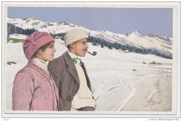 PELLEGRINI N° M 11 - Couple En Promenade Sur La Neige De St Moritz - Montagne Randonnée Ski Pipe - Otros Ilustradores