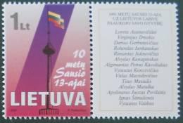 MEMOIRE EVENEMENTS DU 13 JANVIER 2001 - NEUF ** - YT 656 - Lithuania