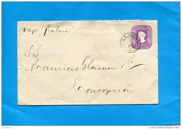 MARCOPHILIE -CHILI-lettre Entier Postal-5 Cent Colon Cad CALDERA 1898> Vap Balena- Conception - Chile