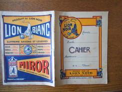 LION NOIR CIRAGE-CREME LION BLANC MIROR CAHIER OFFERT AUX ENFANTS SAGES ET STUDIEUX - Publicités