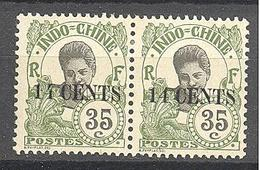 Indochine: Yvert N°81/81a; Variété 4 Fermé Tenant à Normal; Gomme Coloniale; Cote 14.00€ - Ungebraucht