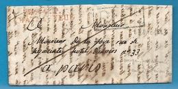 Ille Et Vilaine - Chateauneuf Pour Paris. LAC En Port Payé De 1823. MP P34P/CHATEAUNEUF En Rouge. Indice 20=400euros - Postmark Collection (Covers)