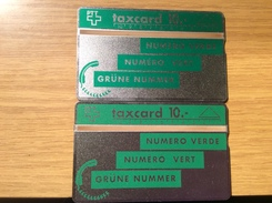 Early Mint  Public Issue Switzerland : 2x   10 Sfr. Taxcard  Green Number  ( 2 Different Colours Of Green !!)  - Unused - Schweiz